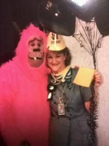 Aunt Cindy, who makes me laugh only slightly less than Dad does. Oh, and I think the pink monkey is a relative too.